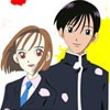 Color this cute picture of Kare Kano. Use the paintbrush to select colors and click on each section to paint in it. Color the various clothes, people, accessories, and hair of the characters to make them look their best.